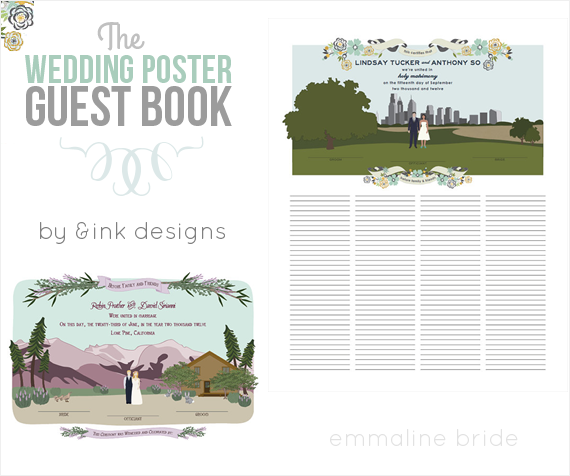 Wedding Poster Guest Book (by AmpersandInk Designs) via EmmalineBride.com