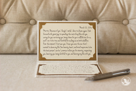 wedding vow book via 8 Wedding Vow Mistakes to Avoid