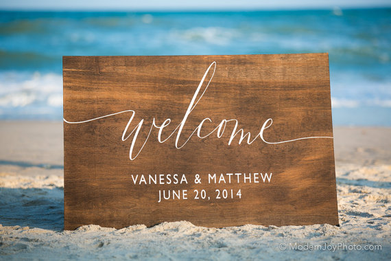 wedding welcome sign beach