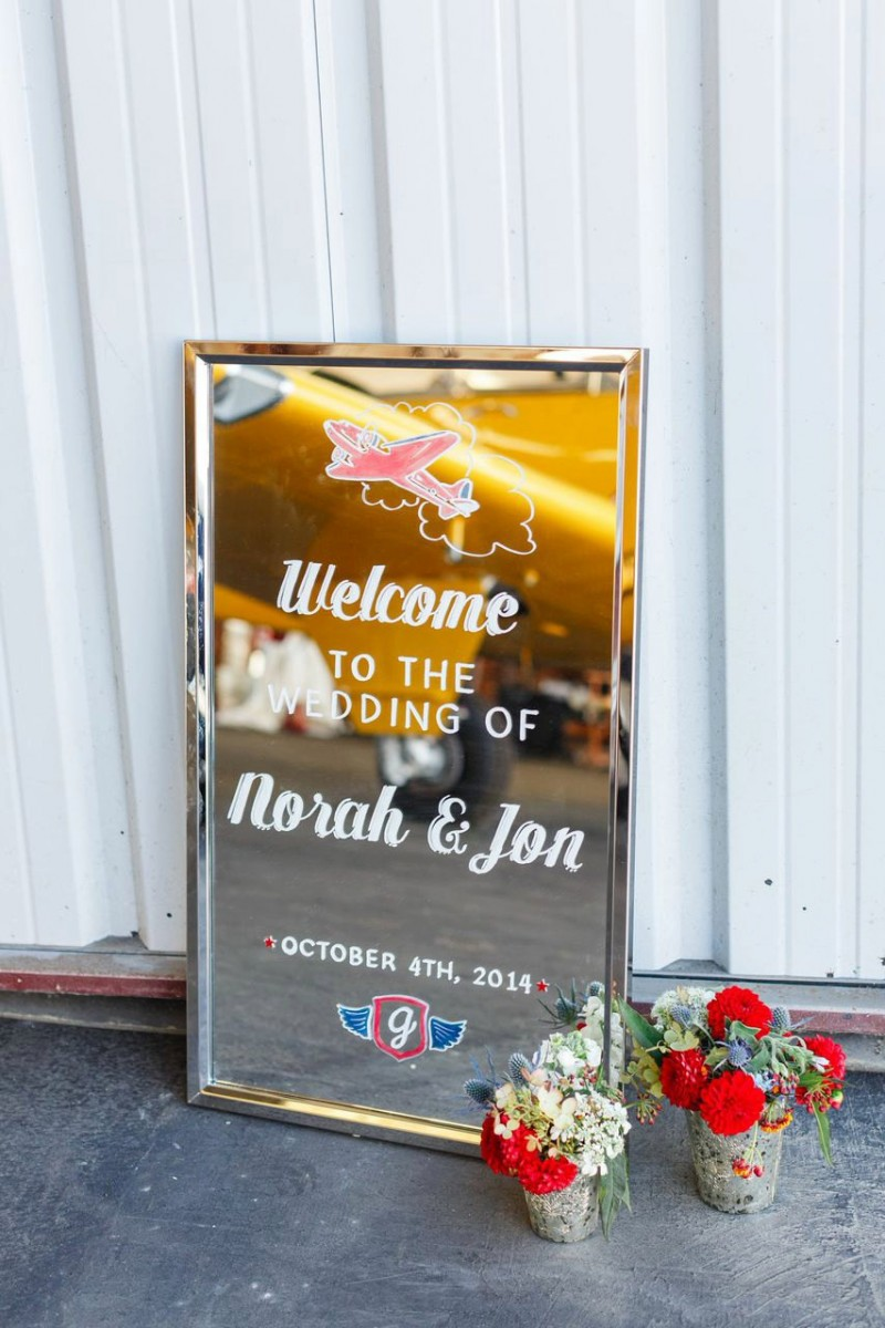 This welcome sign features the couple's travel theme | http://emmalinebride.com/decor/wedding-mirror-signs/