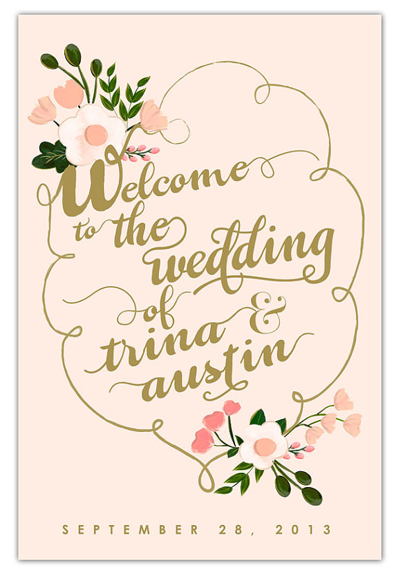 Gold Wedding Inspiration (welcome wedding sign: the first snow)