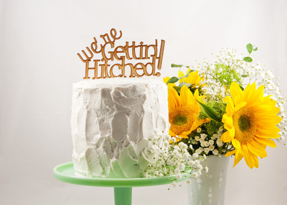we're getting hitched | fun cake toppers in words