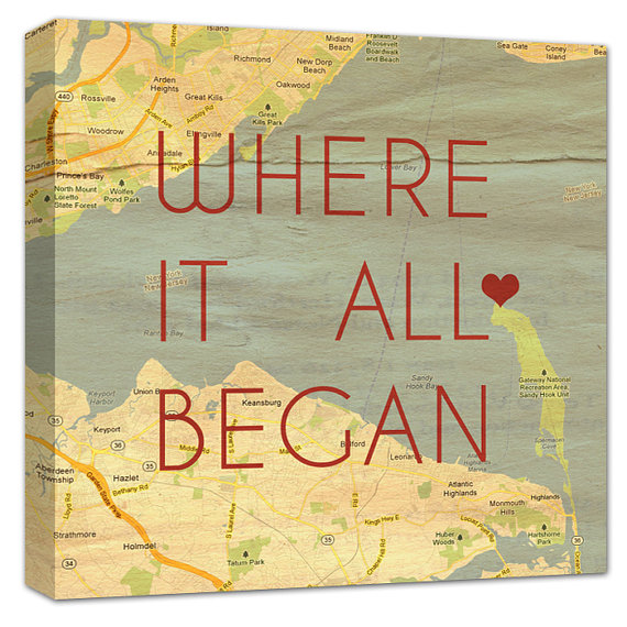 map canvas print - where it all began caps
