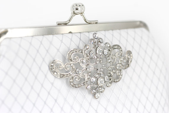 white bridal clutch with brooch (by angee w)