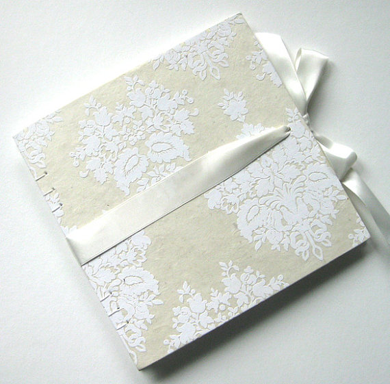 white damask guest book