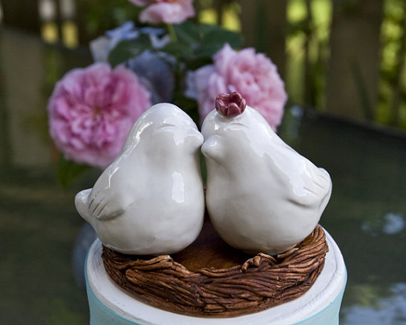 Love Bird Cake Toppers in White (by Dances With Clay)