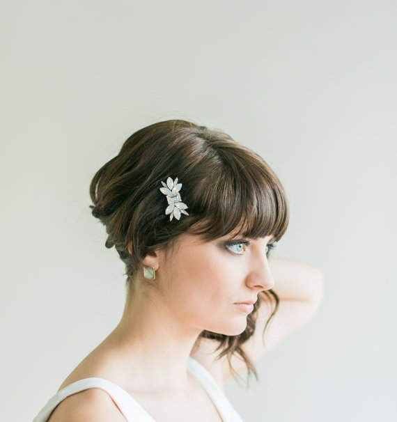 white opal hair comb via 15 Stunning Wedding Veil Alternatives