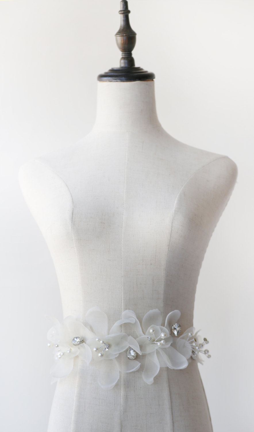 ivory flower bridal sash