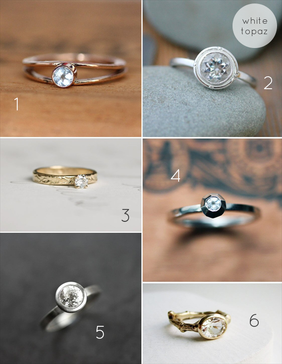 Alternative Engagement Ring Ideas:  White Topaz (via EmmmalineBride.com)