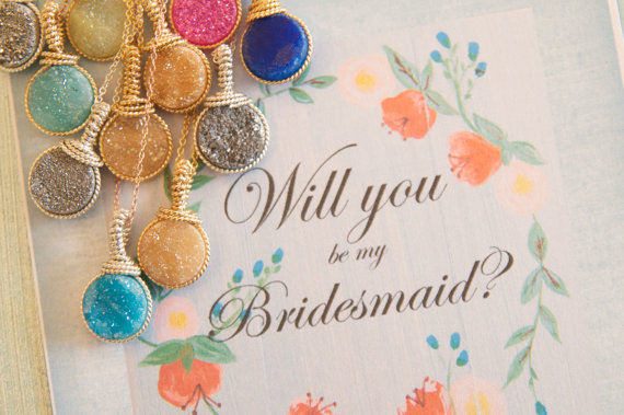 will you be my bridesmaid druzy necklace | druzy bridesmaid jewelry