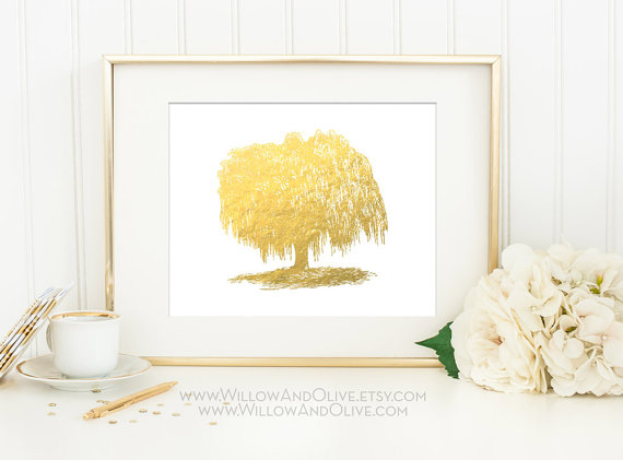 willow tree gold foil print via 27 Amazing Anniversary Gifts by Year https://emmalinebride.com/gifts/anniversary-gifts-by-year/