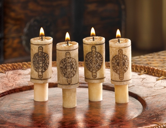 wine cork candles set via DIY Wine Bottle Candles