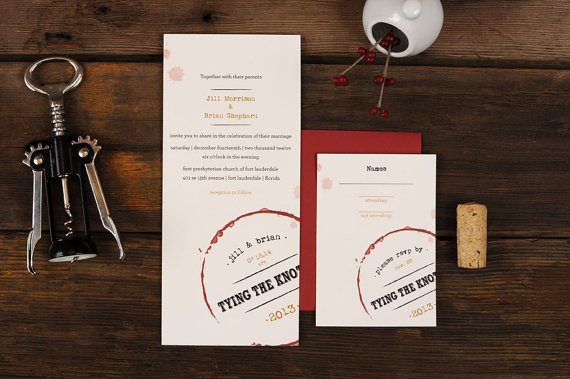 wine themed wedding invitations - wine themed wedding ideas