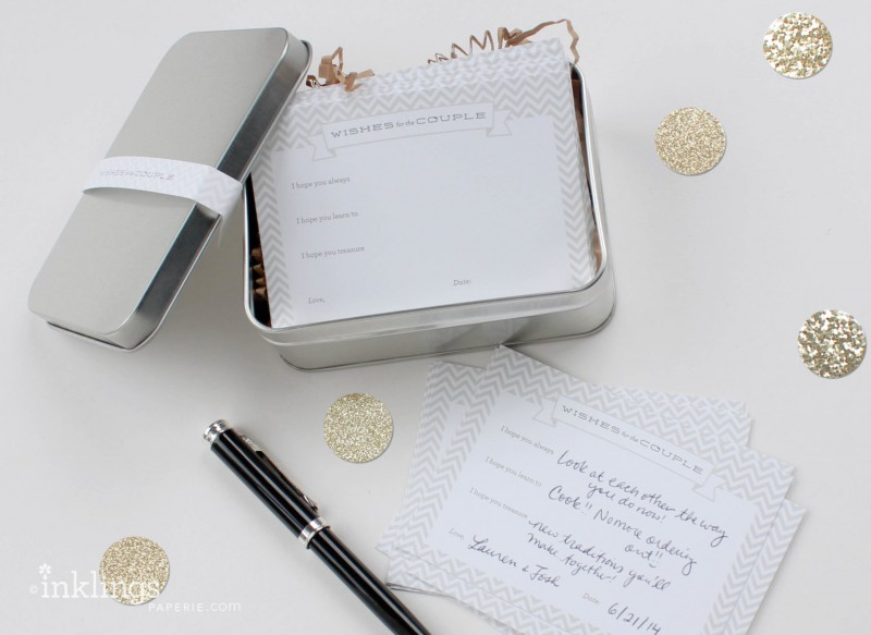 wishes for the couple tin and cards | via Bridal Shower Games, Invitations + More https://emmalinebride.com/2015-giveaway/bridal-shower-games/