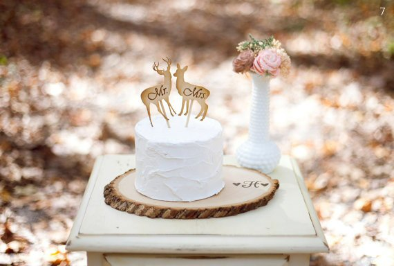 wood themed wedding cake topper