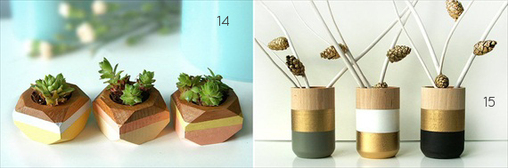 wood themed wedding centerpiece ideas geometric succulent planter painted wood vase