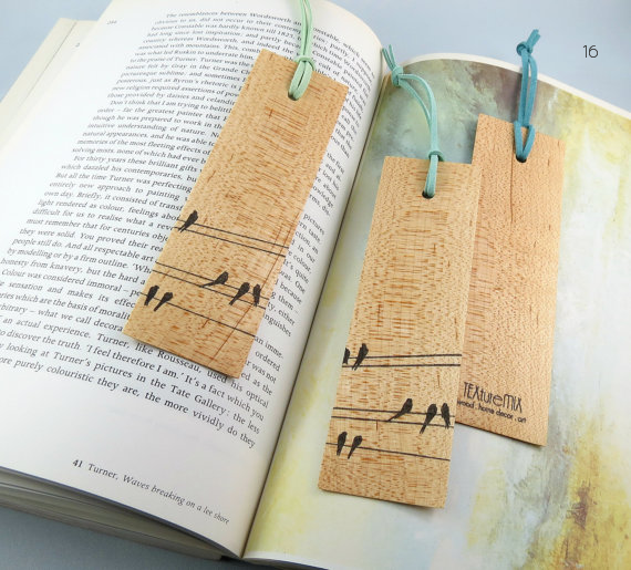 wood themed wedding favors bookmarks