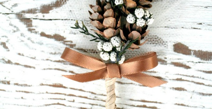 woodland pine cone boutonniere