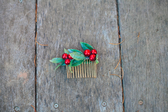 bride's woodland wedding berry hair piece by handmade artist Kim Art