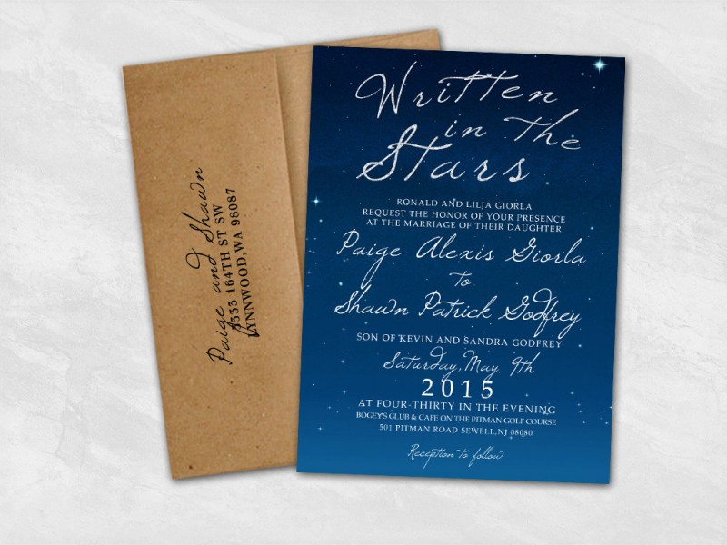 written in the stars wedding invitation by wild heart paper | via Starry Night Weddings http://emmalinebride.com/vintage/starry-night-weddings-ideas/