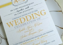 yellow and gray wedding invitation