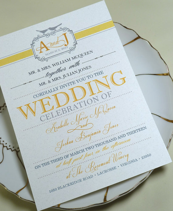 yellow and gray wedding invitation - Invitations for Wedding Themes