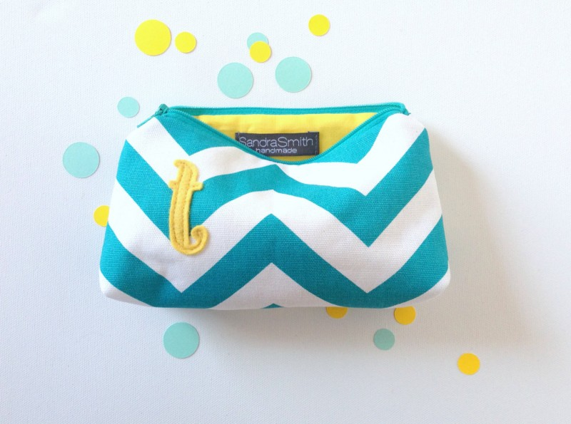 yellow and turquoise chevron makeup cases | Bridesmaid Makeup Cases http://emmalinebride.com/gifts/bridesmaid-makeup-cases/