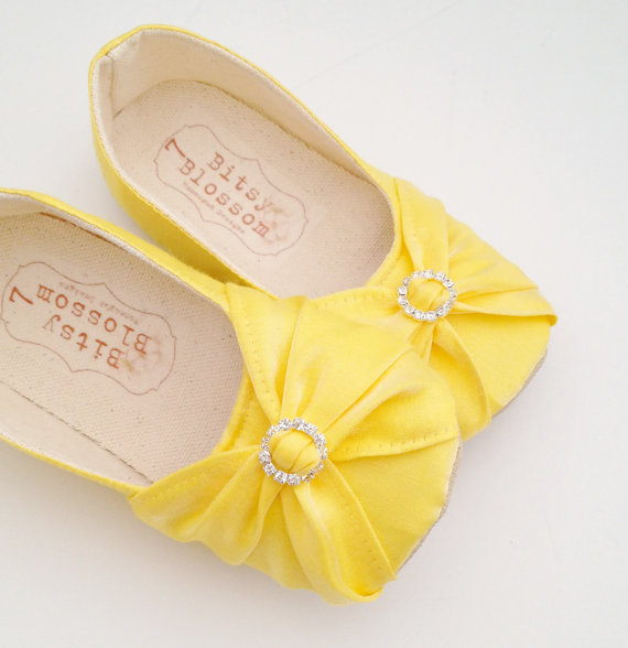 yellow bow flower girl shoes