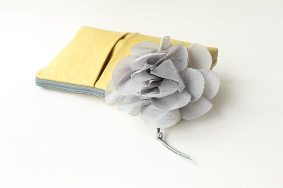 wedding clutch purses - yellow clutch purse with gray flower (by allisa jacobs)