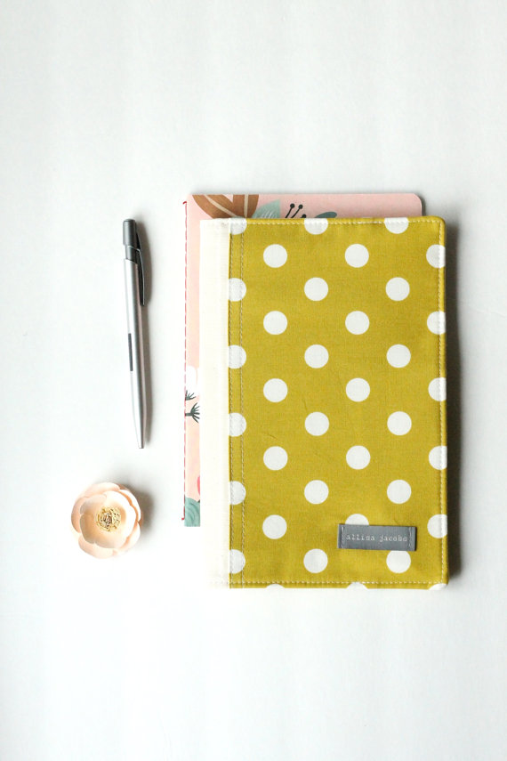 yellow polka dot portfolio organizer via newly engaged gift idea at EmmalineBride.com