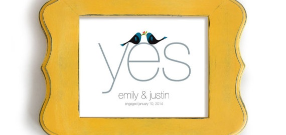 yes engagement print with birds