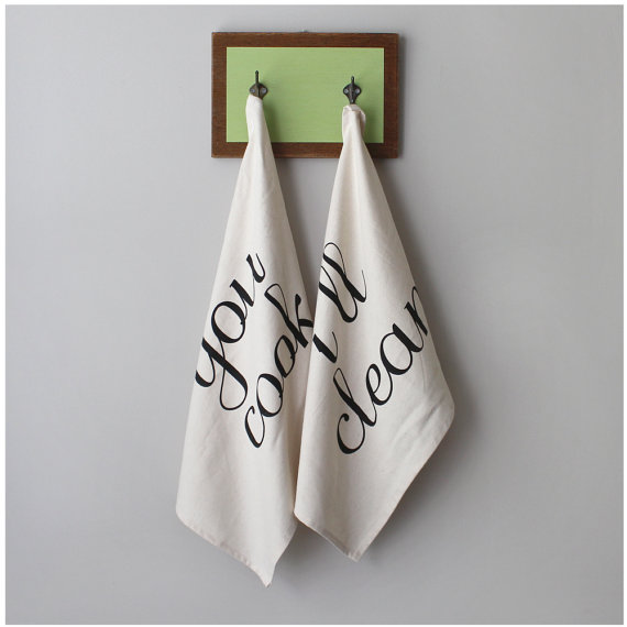 you cook ill clean tea towels via Top 10 Non Registry Wedding Gifts